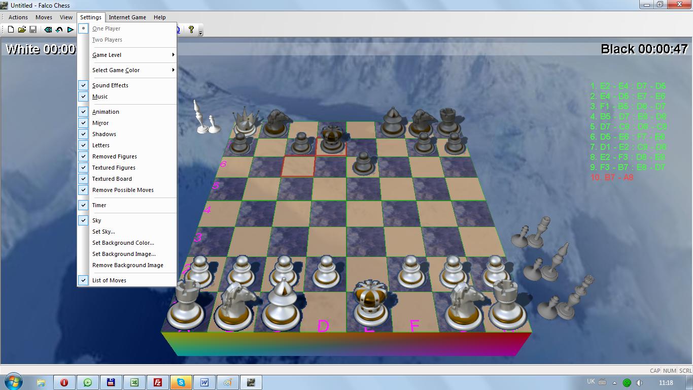 Бесплатные шахматы 3d скачать Falco Chess